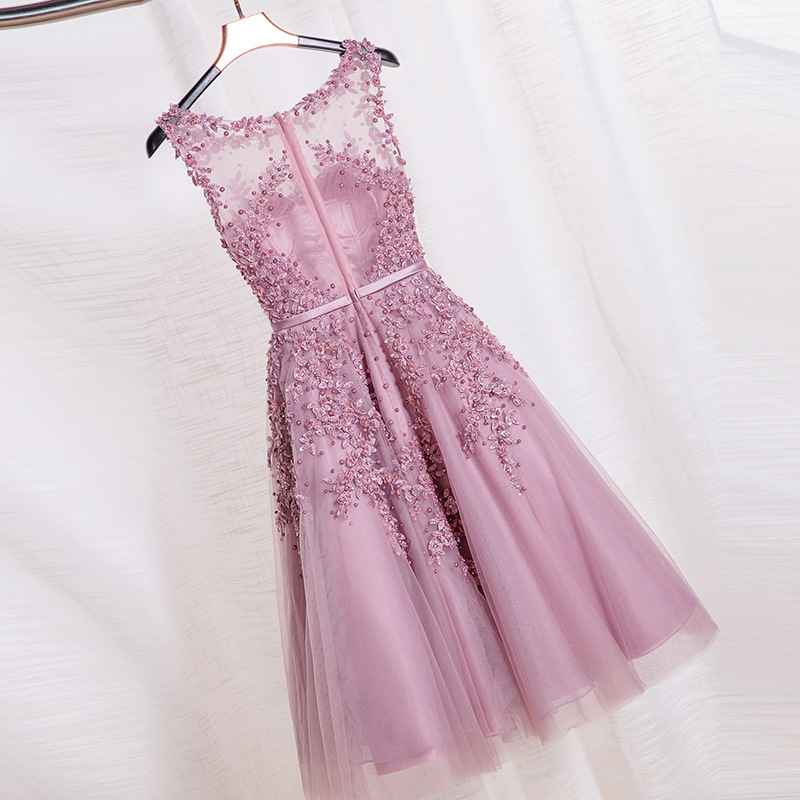 e16745e1bbd J106 Robe De Soiree Pink Lace Short Evening Dresses Embroidery with Beaded  Perspective Backless Fashion Party