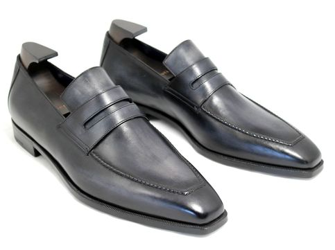 Handmade Black Genuine Leather Moccasins Mens Shoes On