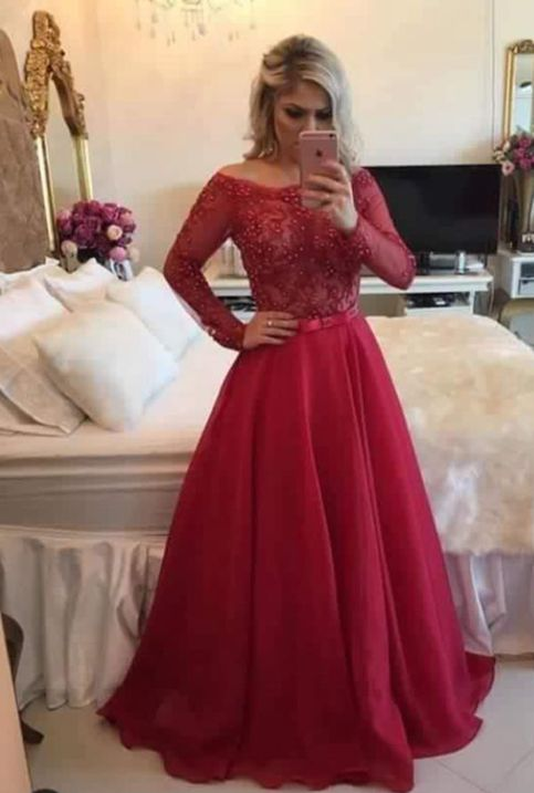 Pretty Red A Line Lace Long Sleeve Prom Dress Formal Gown