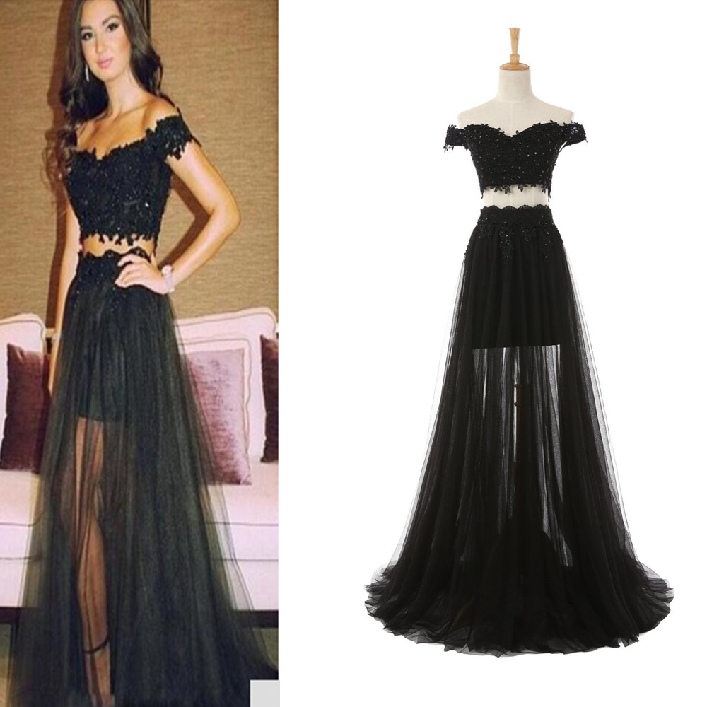 e7ed7c92735685 Black Lace Beading Long Prom Dress