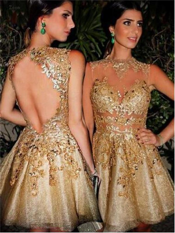 Short custom homecoming dress,gold homecoming Dresses,open back ...