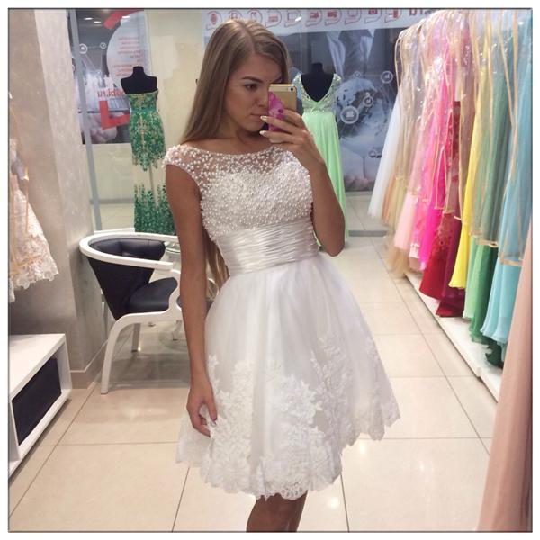 e11a6185197f Beading homecoming dress, white homecoming dress, cap sleeve homecoming  dress, short homecoming dress