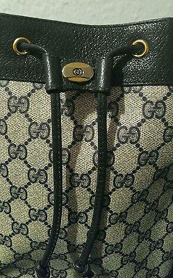 ca09ee3faef Vintage Signature Monogram Gucci Blue Red Stripe GG Drawstring Bucket Purse  Bag - Thumbnail 1 ...