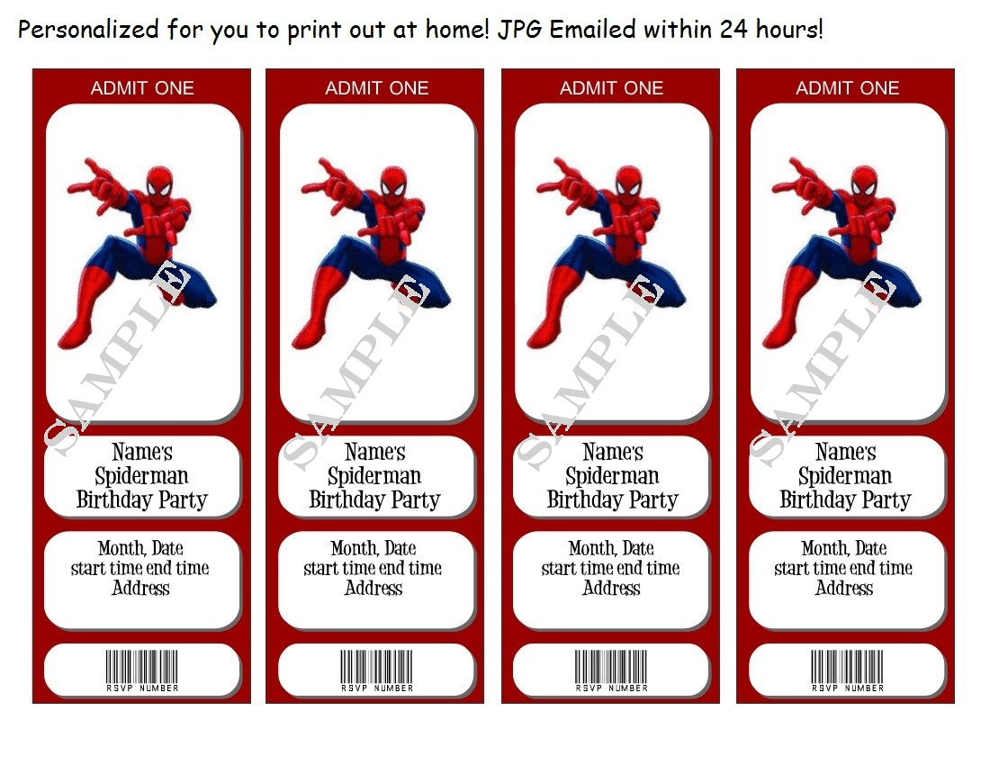 Spiderman Birthday Party Invitations Tickets
