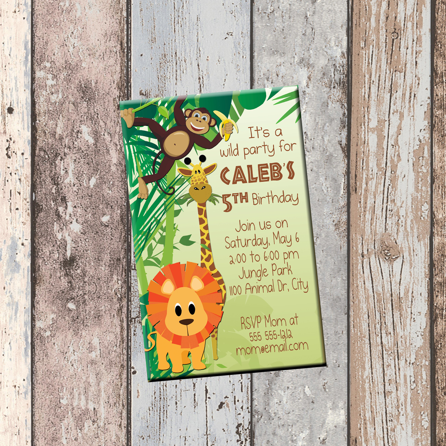 Jungle Animals Personalized Birthday Invitation 1 Sided