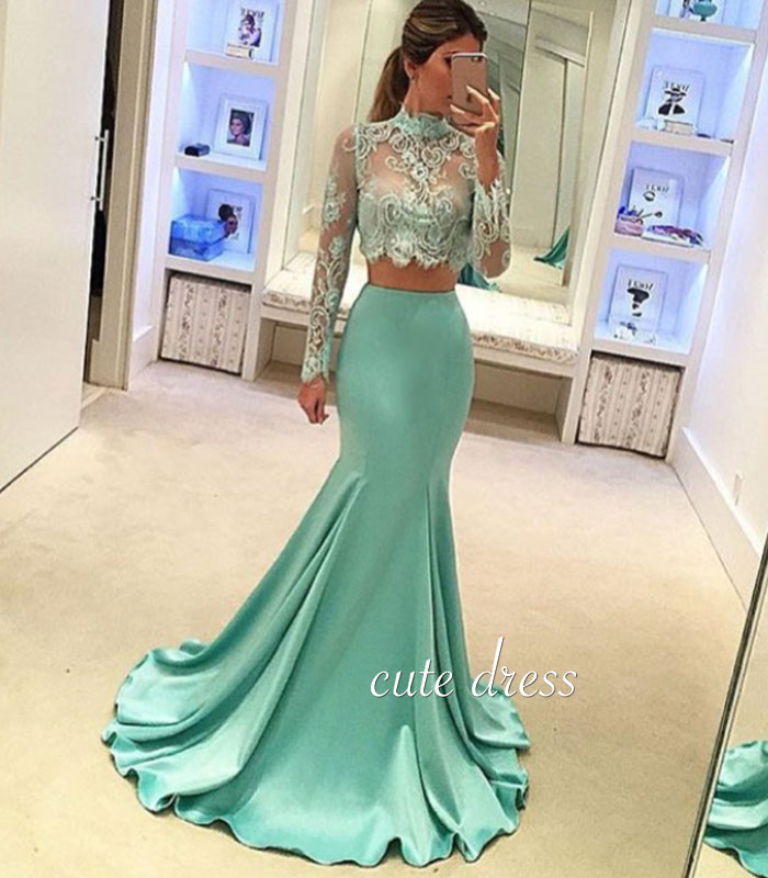 Green Mermaid style two pieces lace long prom dress, evening dress ...
