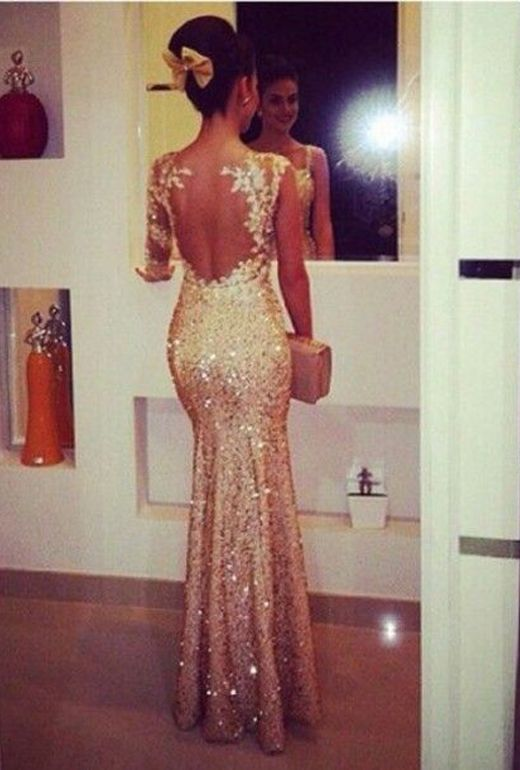 Evening Dress Mermaid Champagne V Neck Sequins Lace Appliques