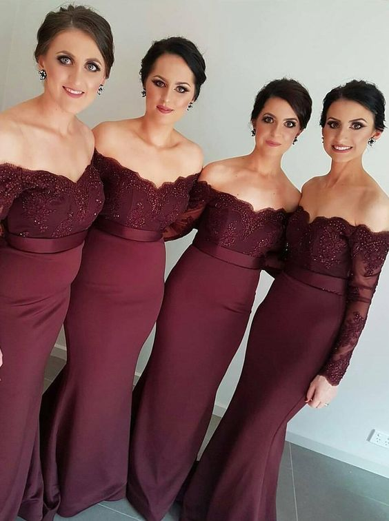 Bridesmaid Dress Mermaid Dark Red Off Shoulder Appliques Satin Long ...