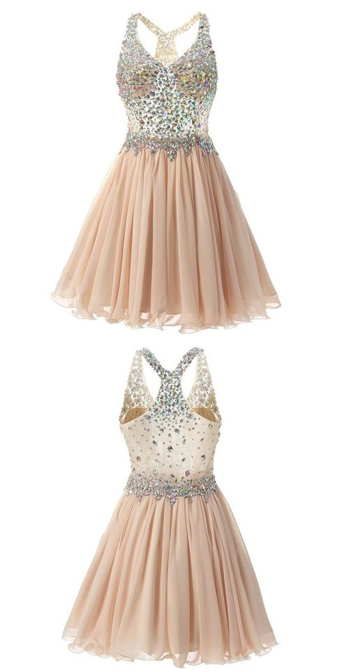 See Through Rhinestone Homecoming Dresses Champagne Prom