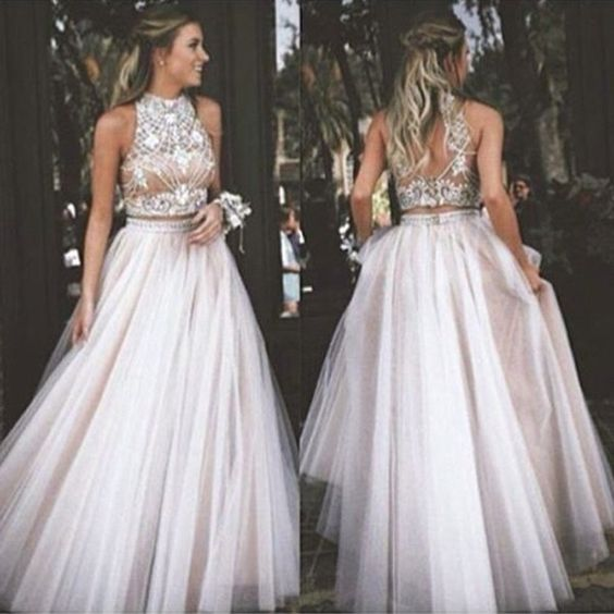 new arrival ball gown prom dress,halter prom dress,long evening ...