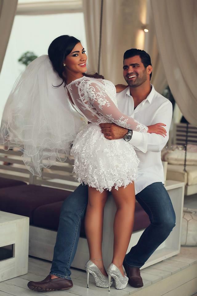 Wedding Dress Sheath White Sweetheart Sheer Sleeves Lace