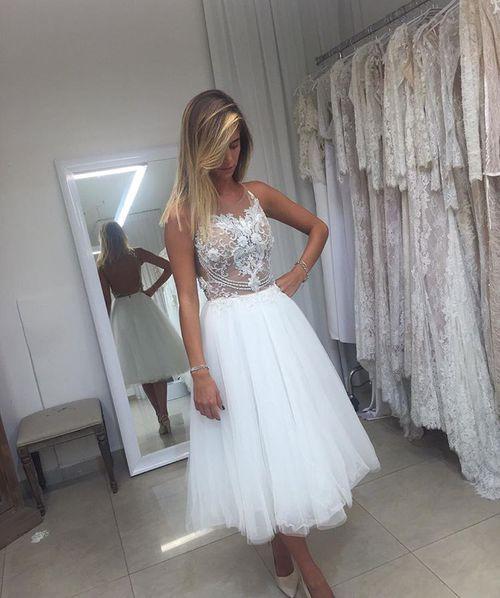 Wd39 A Line Tulle Short Wedding Dresses Wedding Dress Custom Made Wedding Gown From Fancygirldress