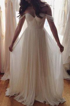 Off shoulder beach wedding gowns, beach wedding dress , chiffon prom ...
