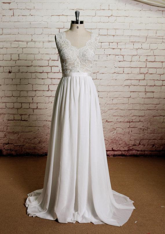 2788139bd5 Beach wedding gown, lace wedding dress, Chiffon prom dress, Long prom dress,