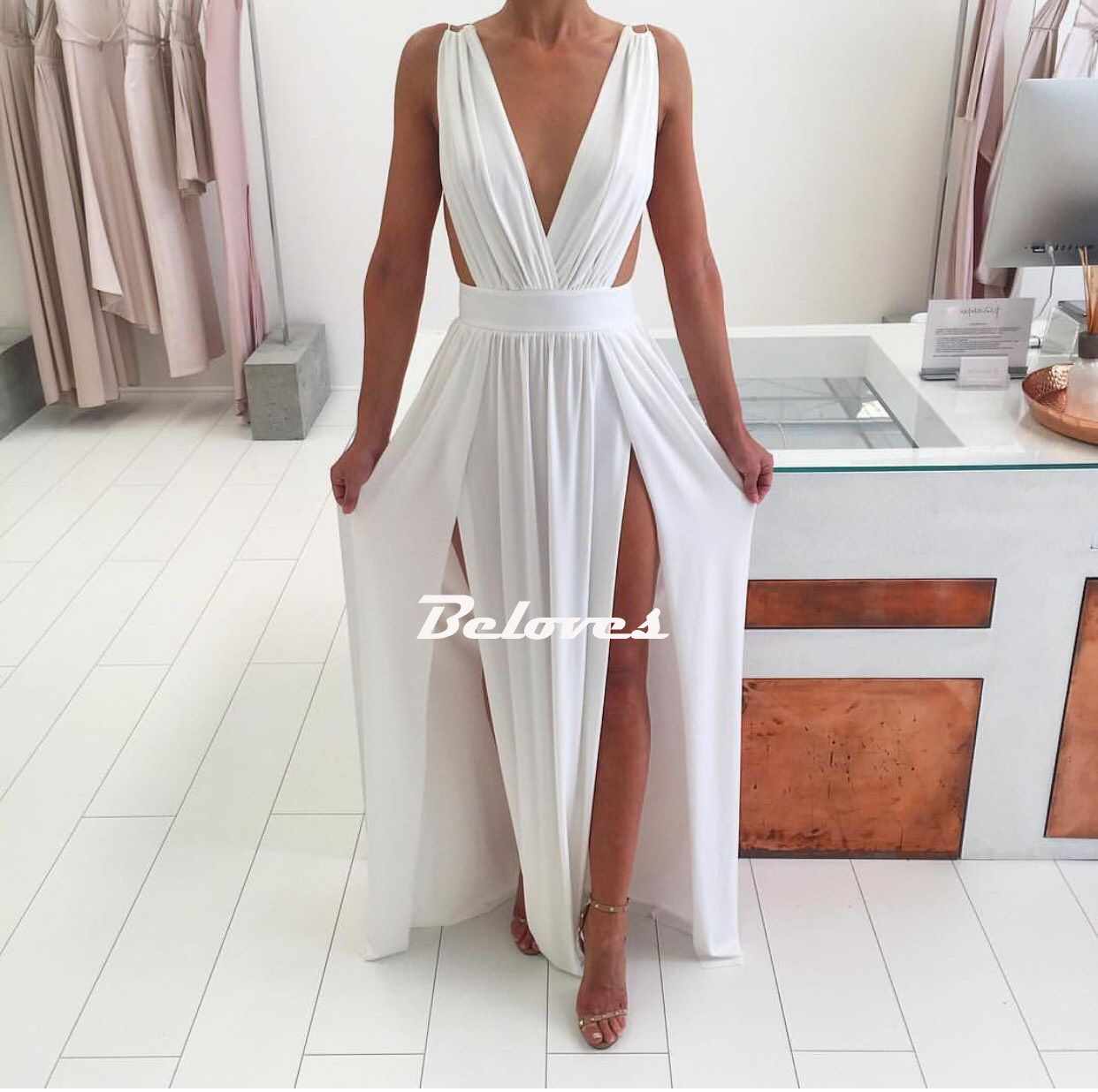810e1a883100 White Deep V Neck Backless Maxi Long Party Dress With Two Side Slit on  Storenvy