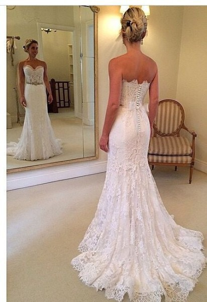 J150 Sweetheart Long Chapel Train Wedding Dresses,Civil Wedding ...