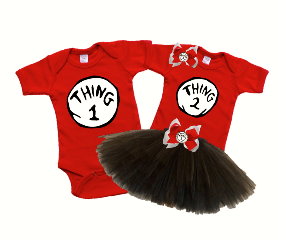 b0df759fd1 Thing 1 and Thing 2 Twin Onesie  Tutu Set