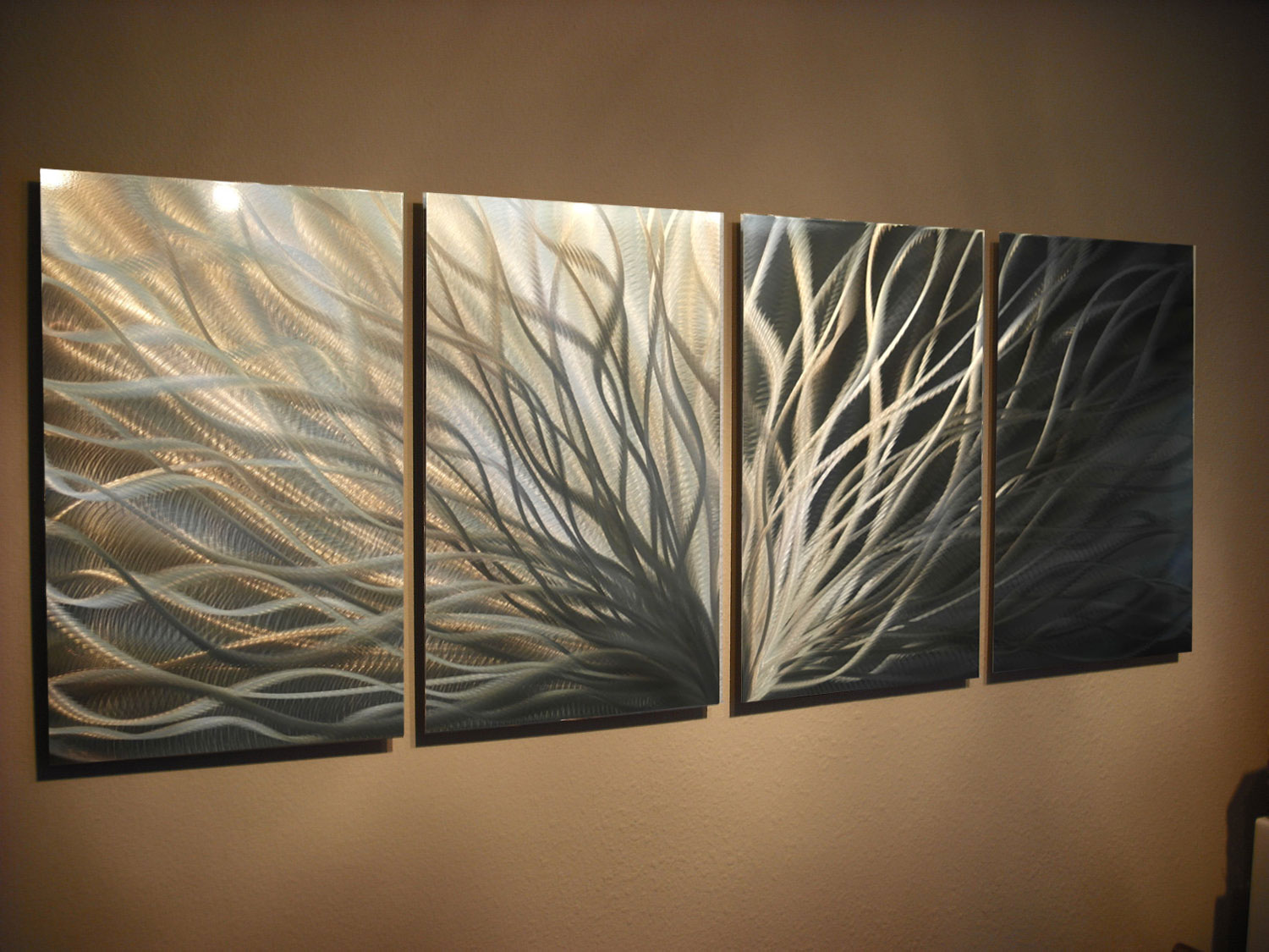 6163ced2c2f ... Abstract Metal Wall Art- Radiance Gold Silver -Contemporary Modern Decor  - Thumbnail 3