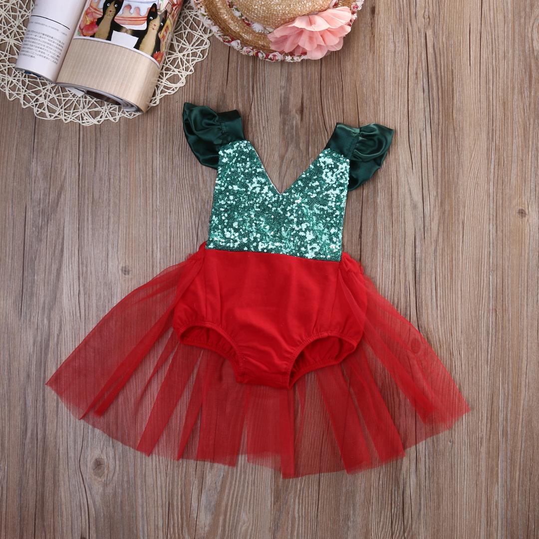 f71d1c6a06ef Christmas Sparkle Baby Girl tutu Romper