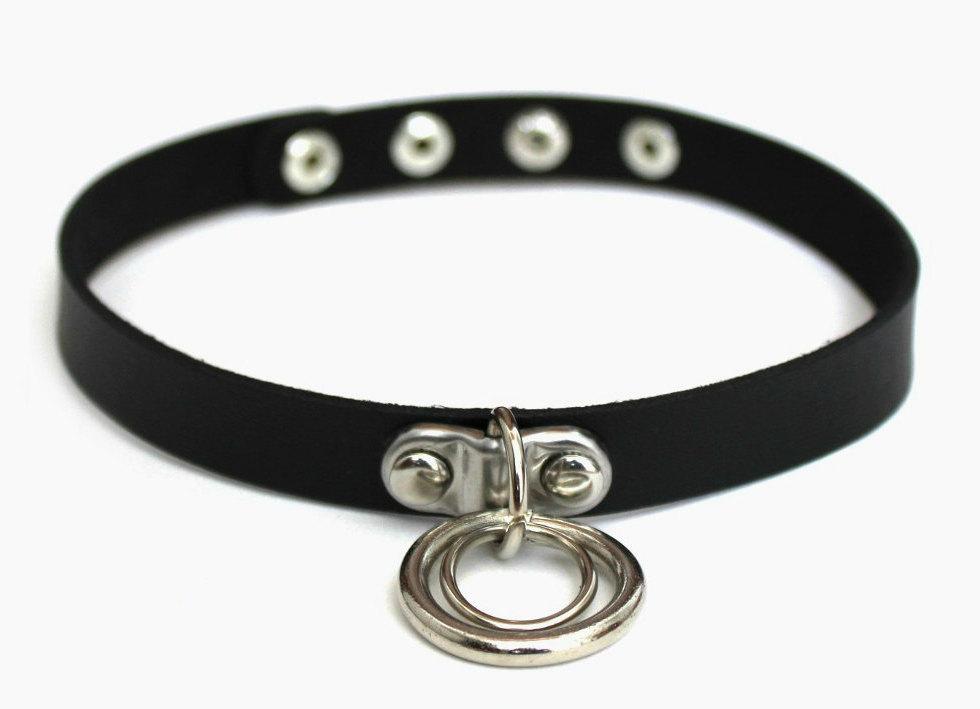 59ede2106 Unisex Hanging Double O-Ring Black Choker Necklace · Miami Mini Mall ...