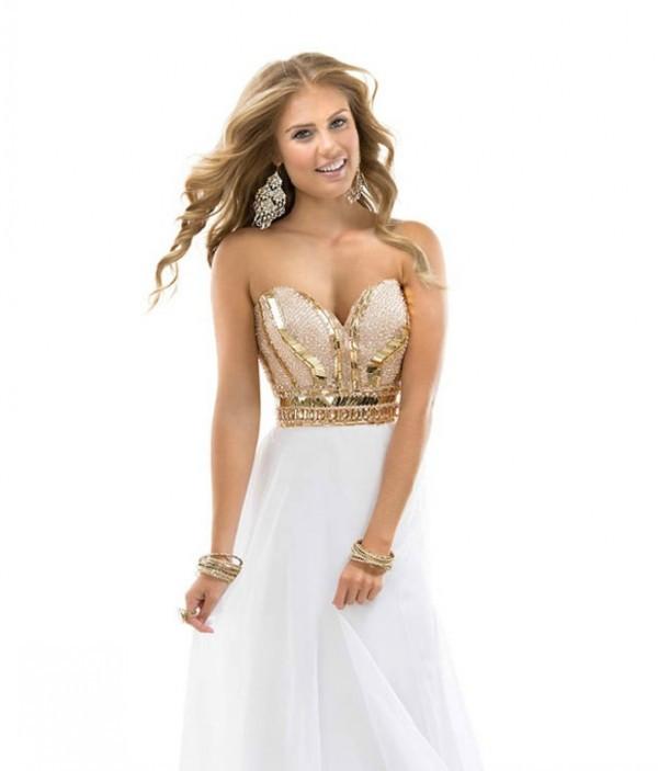 Prom Dress A-line White Sweetheart Rhinestones Beads Chiffon Long ...