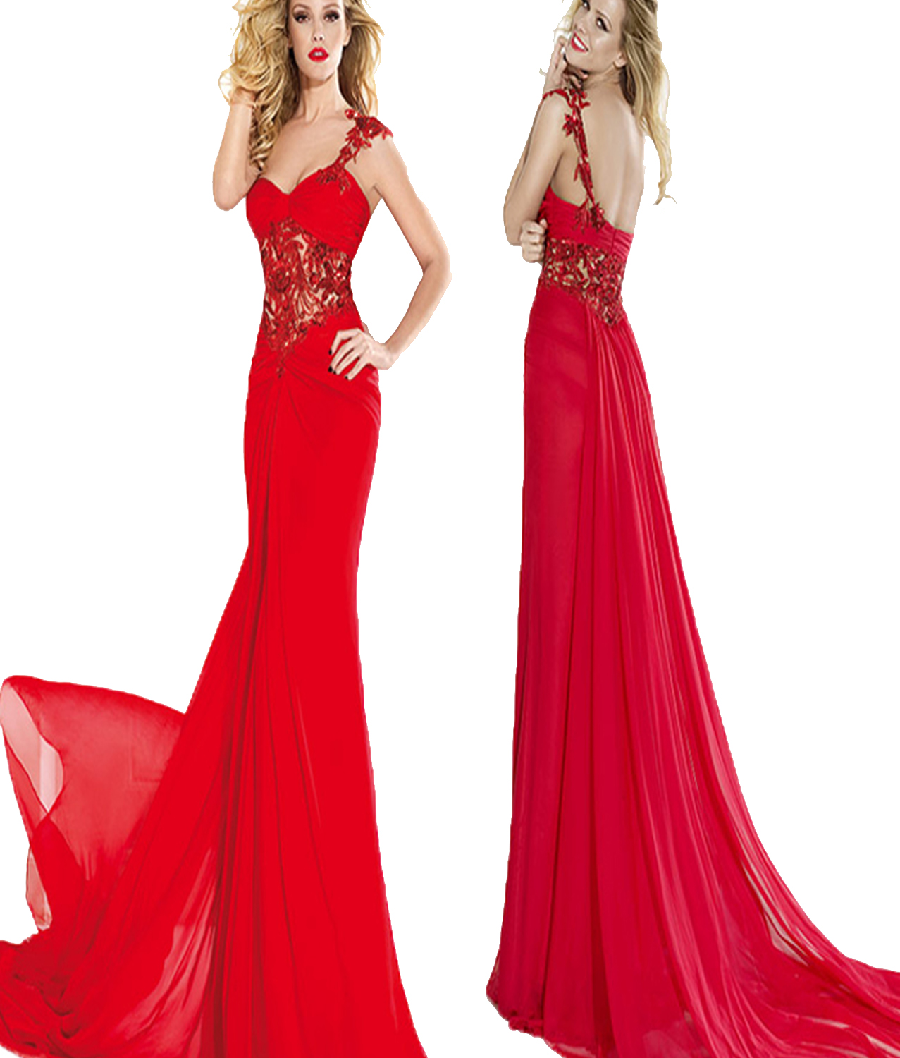 623371fc624 J174 Sexy One Shoulder Handmade Appliques Long Red Chiffon Prom Dresses, Hot  Red Homecoming Dresses