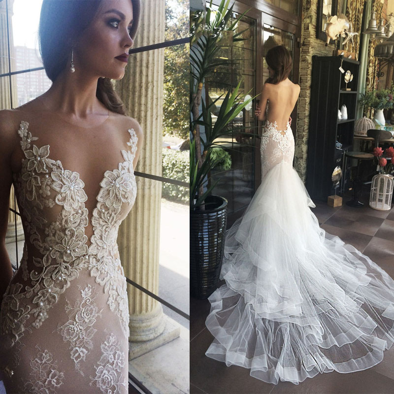 1377cc4476b Luxurious White Mermaid Long Weddding Dress · modsele · Online Store ...