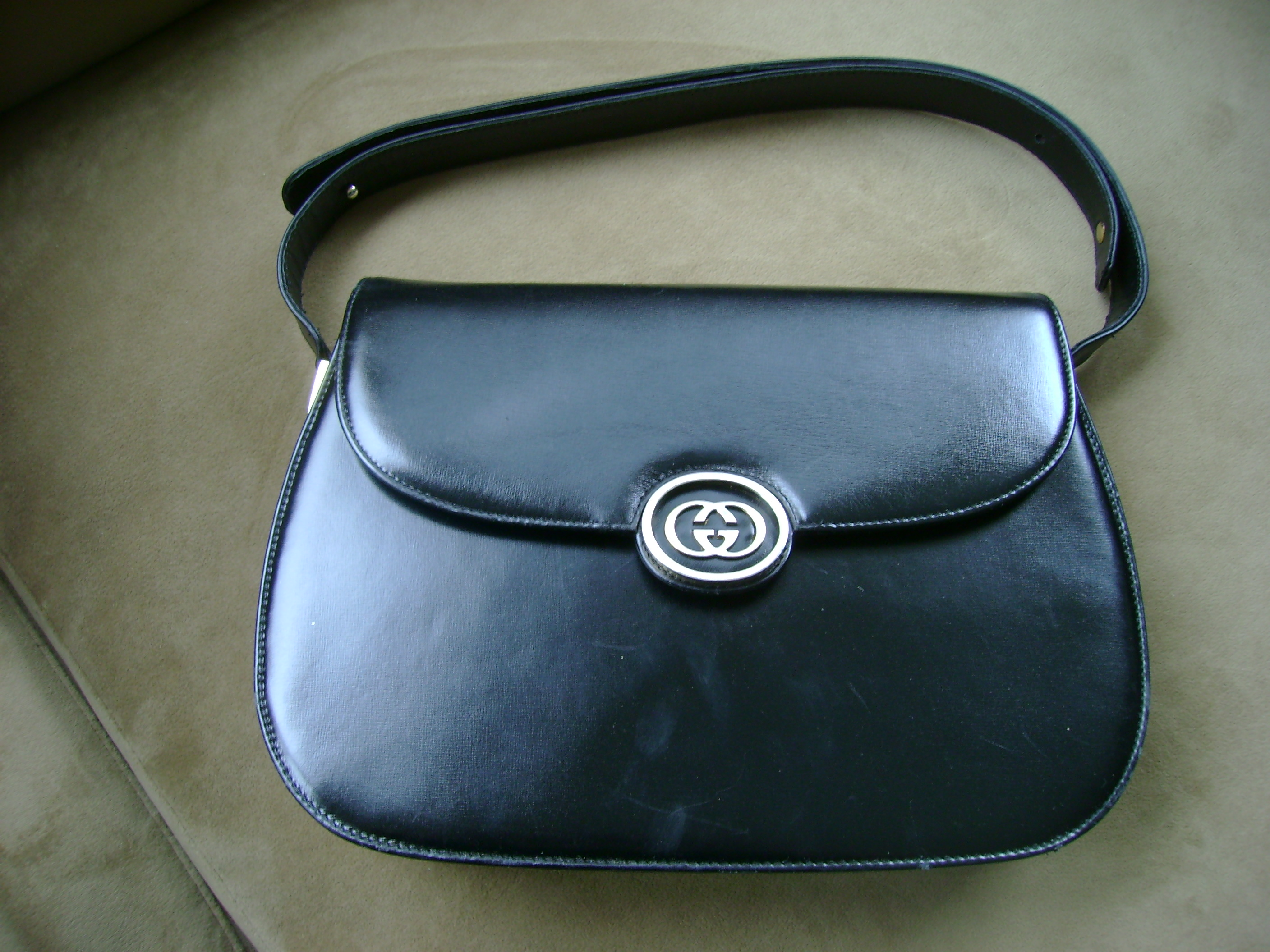 Vintage Gucci Black Leather Handbag 1970s On Storenvy
