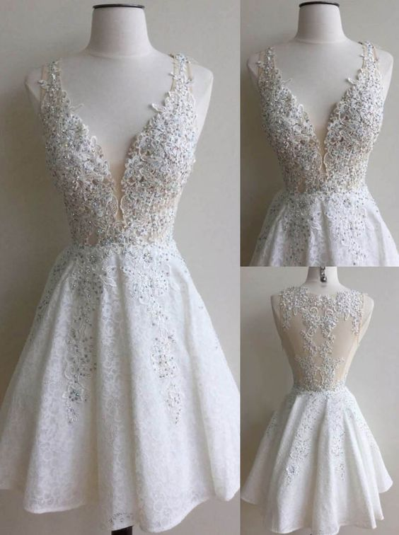 White Lace Beaded Deep V-neck Short Homecoming Dresses,Party Dresses ...