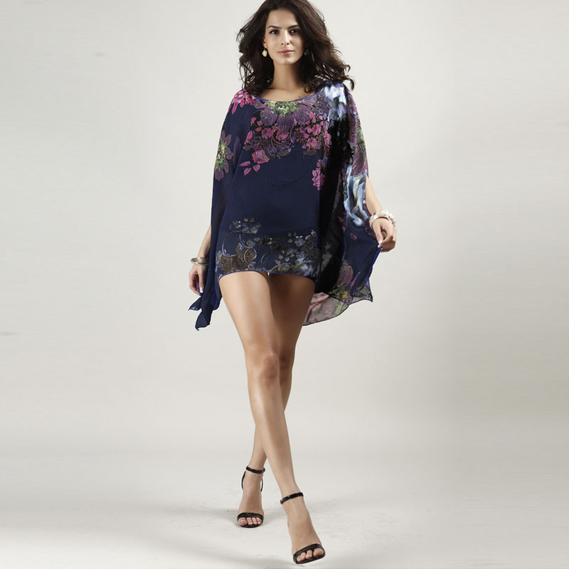 Bohemian Flower Print Women Casual Batwing Sleeve Chiffon Vintage Style  Summer Dress Plus Size Clothing f3f1393e1b