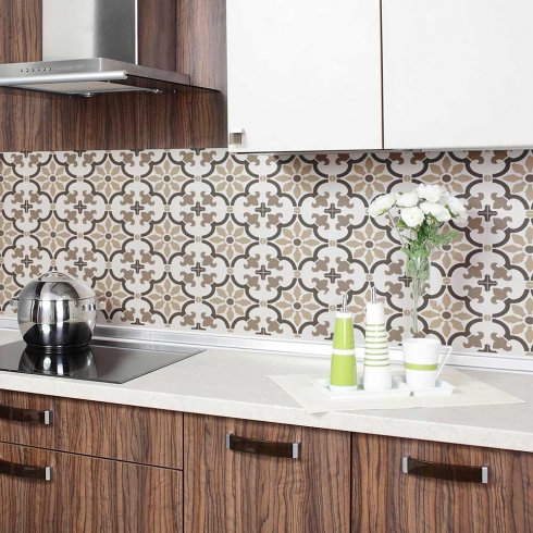 3 small & Fabiola Tile Stencil - Size: Medium - Reusable Stencils for Walls - Perfect for a Kitchen Backsplash - DIY Wall Design