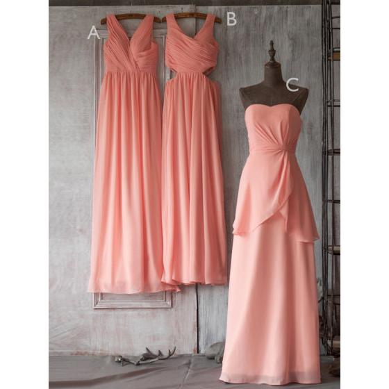 4740cd1f6811 Floor-length V-neck Bridesmaid Dresses with Keyhole Waist, Modest Chiffon  Bridesmaid Dresses with Soft Pleats, V-neck Bridesmaid Dresses, #01012506  on ...