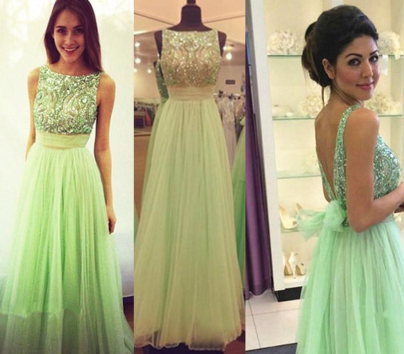 Green Backless Ball Dresses