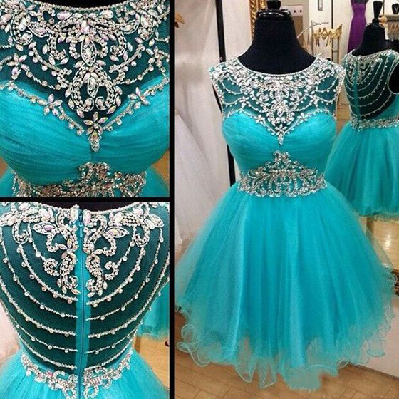 a4083817837 Cute Scoop Neck Illusion Ice Blue Short Prom Dress