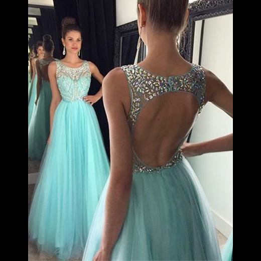 ef2f7dff110 Princess Bateau Neck Crystal Tulle Long Prom Dress