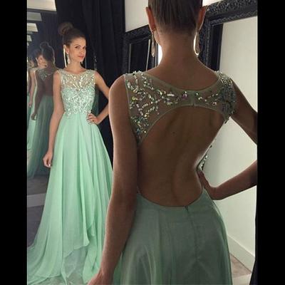 c3ab28b1d18 Bateau Neck Beaded Tulle Sleeveless Prom Dress