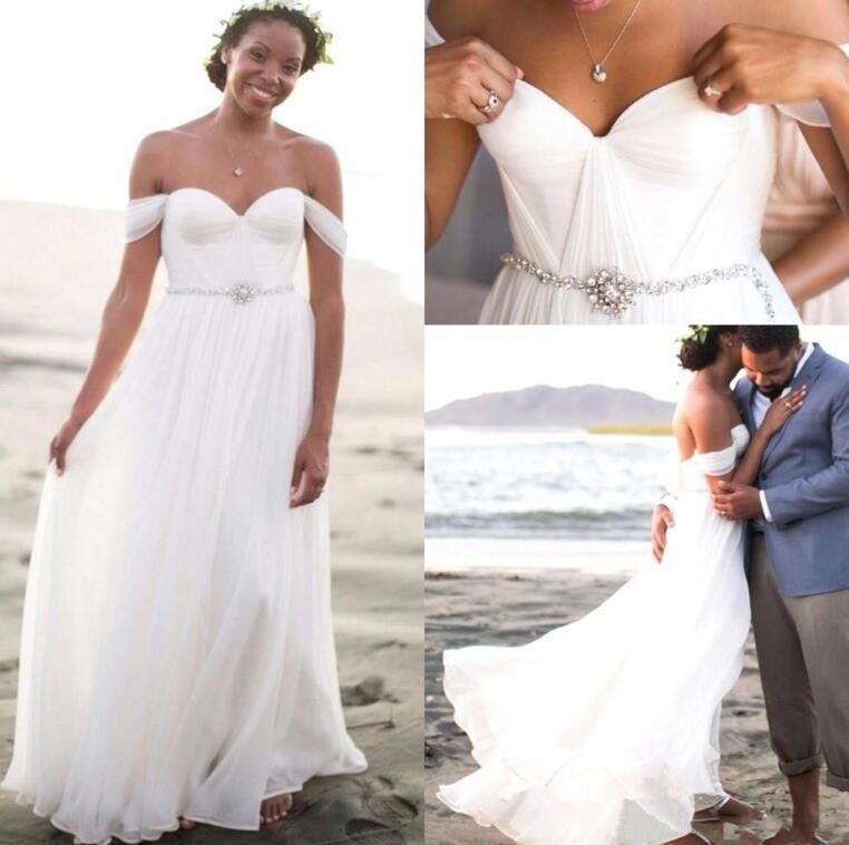 c3a3f75dfc20 A91 Summer Beach Off the Shoulder Empire Beaded Long Chiffon White Wedding  Gowns, Cheap Chiffon
