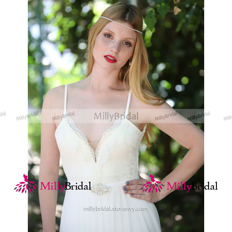 ff23dc695df ... White Spaghetti Straps Column Wedding Dress