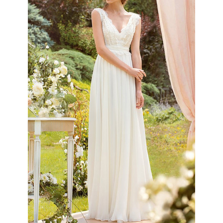 c9b8d68ddeb Elegant V Neck A-line Lace Wedding Dress