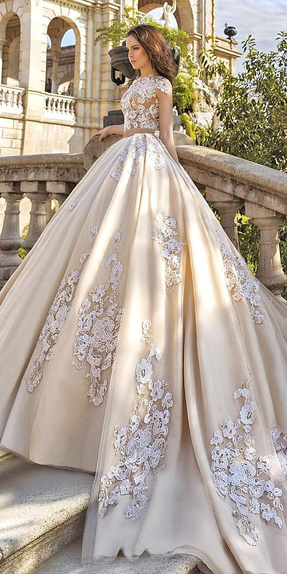 A156 Gorgeous Floral Applique Wedding Dresses Trend For 2016 ...
