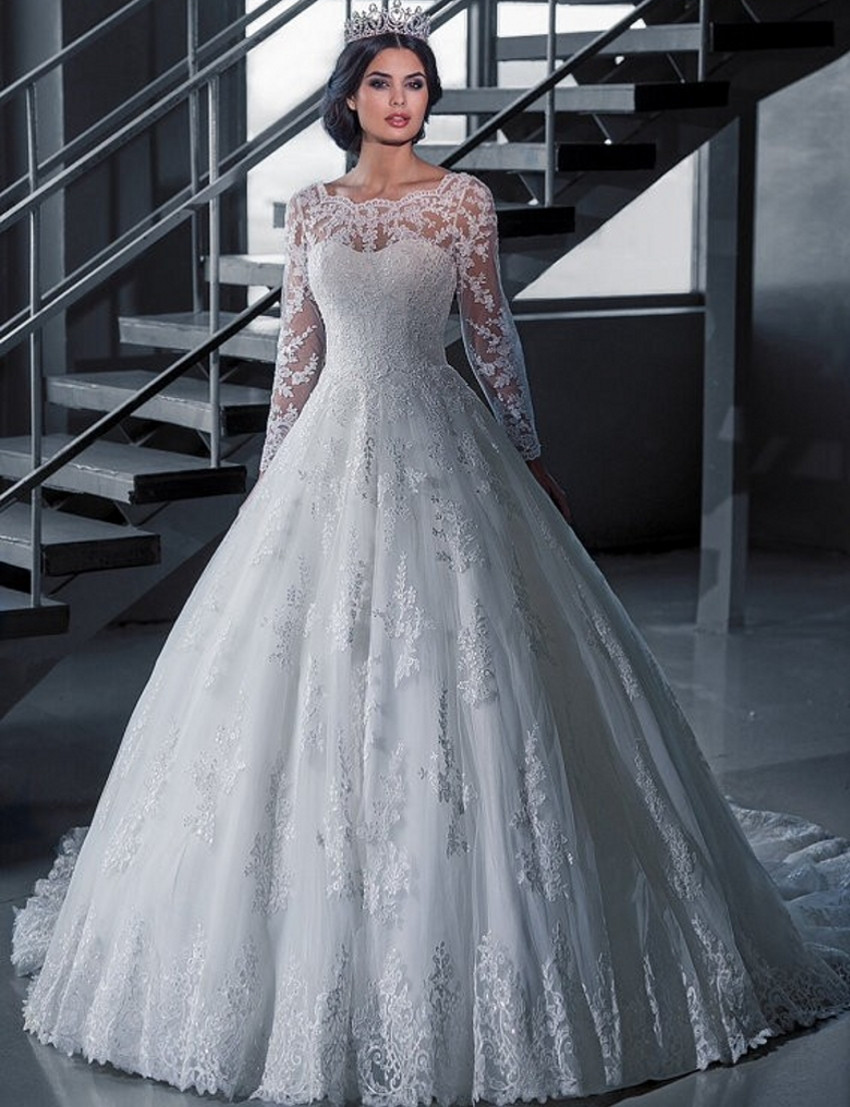 A226 Vintage Bridal Ball Gown Long Sleeve Lace Wedding Dresses ...