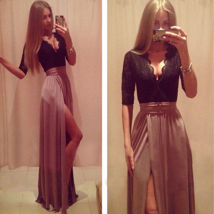 f4f5fdeccf959 J179 Deep V Neck Black Lace Top Long Tulle Evening Dresses, Side Slit Woman  Evening