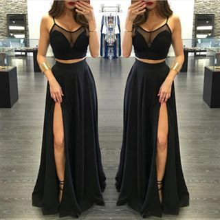 7876f828449 J180 Sexy Spaghetti Straps See Through Right Slit Prom Dress