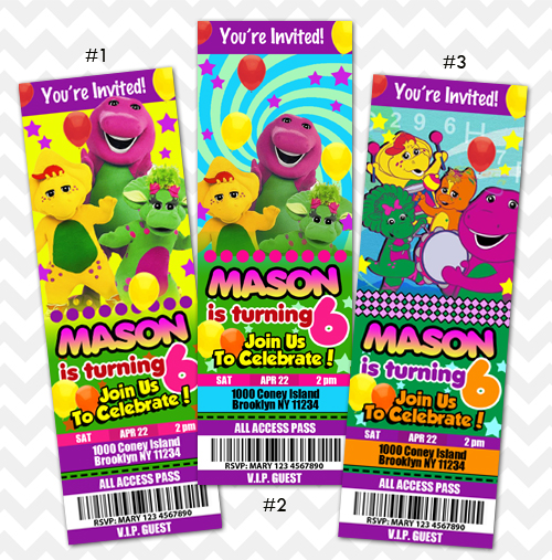 Barney Invitations Barney and Friends Birthday on Storenvy