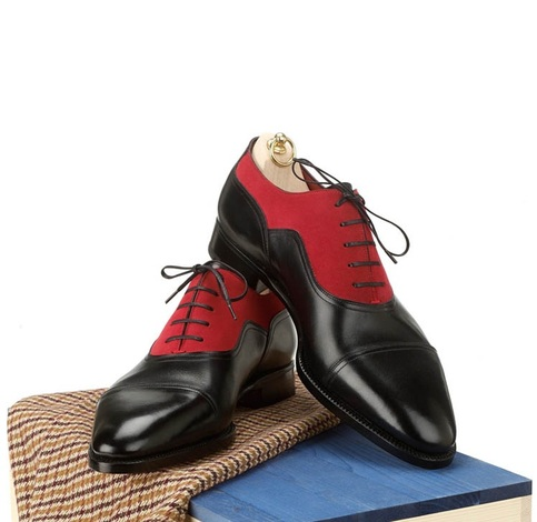 Handmade Men Two Tone Red And Black Formal Shoes Mens