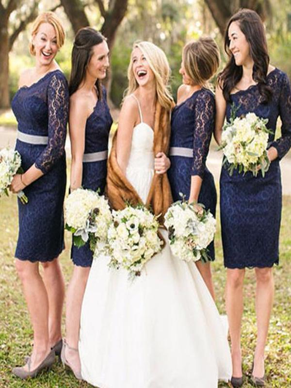 74a4dda7bad Short Navy Blue Bridesmaid Dress