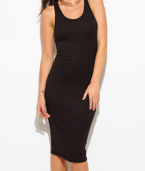 708f6add997 Black ribbed knit sleeveless scoop neck racer back bodycon fitted club midi  dress 0 original