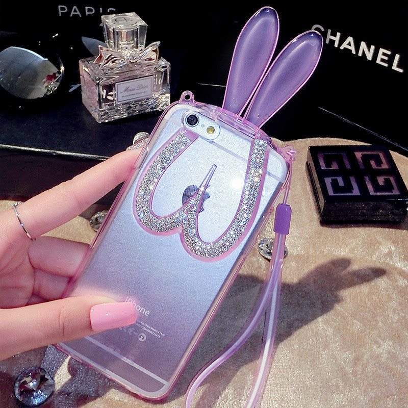 the latest b61ef 9ec78 Bling Bunny Ears Pink Transparent iPhone 6 Case - iPhone 6 6s and 6 6s Plus  from Luxurious Bling