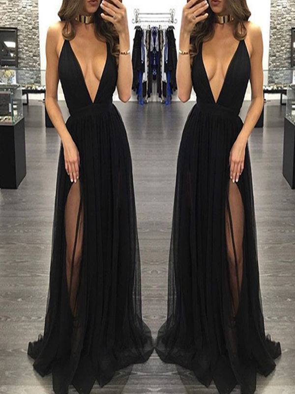 5ce90b2fbb3c Popular Black Deep V-neck Sexy See Through Tulle Charming Simple Formal  Evening Party Prom
