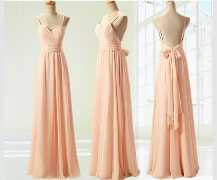 Spaghetti Strap Blush Pink Bridesmaid Dresses,Open Back Hot Summer ...